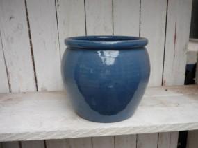 Hydrovase aus Steinzeug in blau geeignet für eine Kulturtopfgröße 28/19